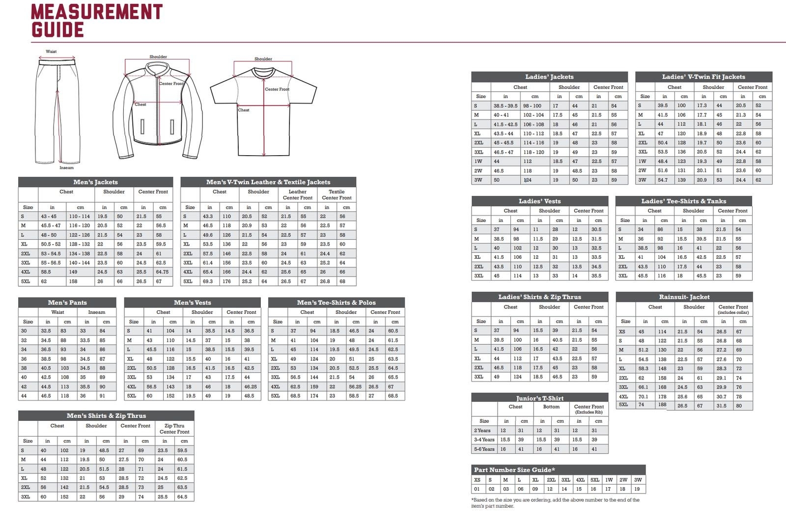 Indian Motorcycle Clothing Size Chart