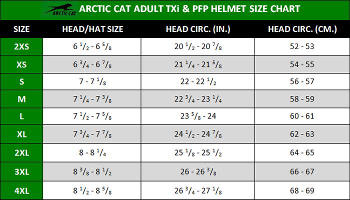 Arctic Cat Snowmobile Helmet Size Chart