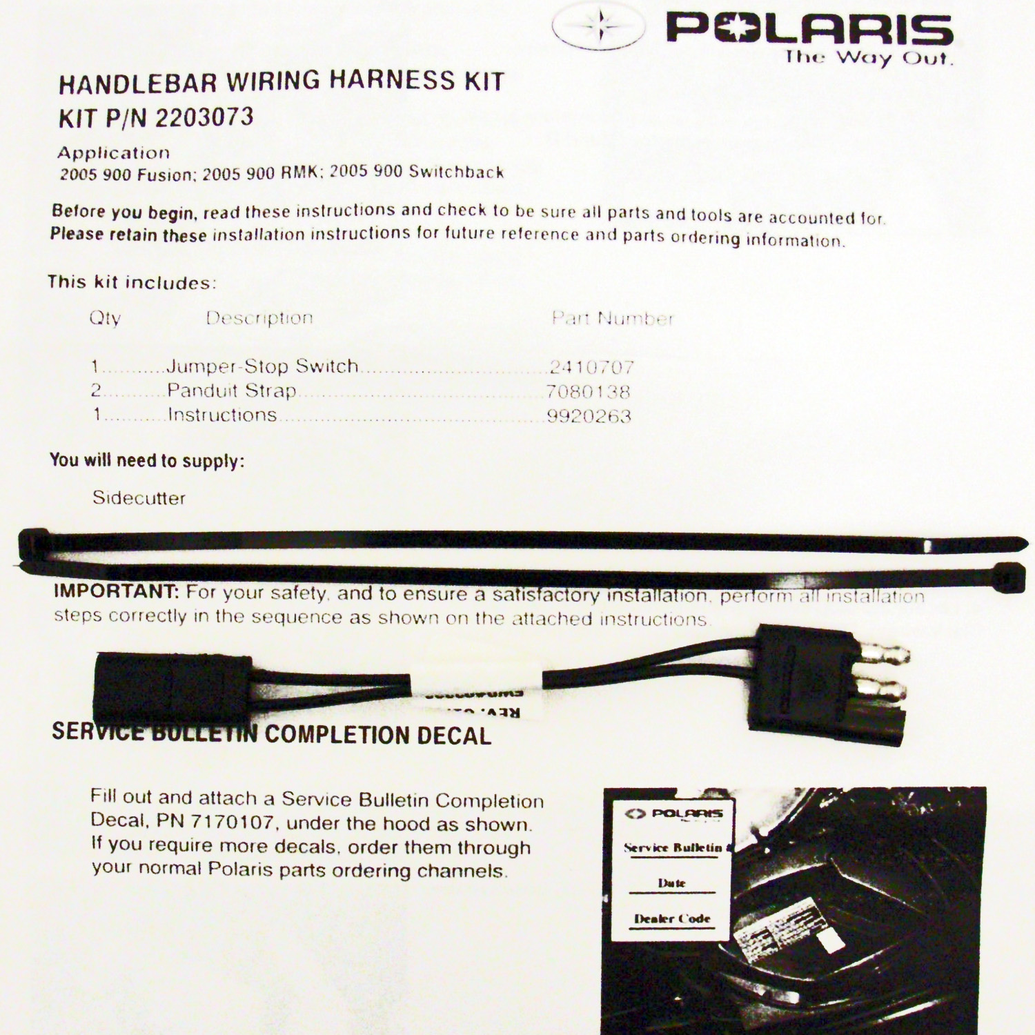 Polaris New Oem Snowmobile Service Stop Switch Electrical Fusionrmk Fusion Marine Wiring Harness Image Is Loading