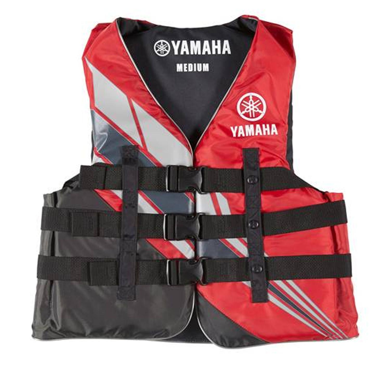 Yamaha Marine New OEM Unisex PFD Nylon 3 Buckle Life Jacket, 2XL, Red